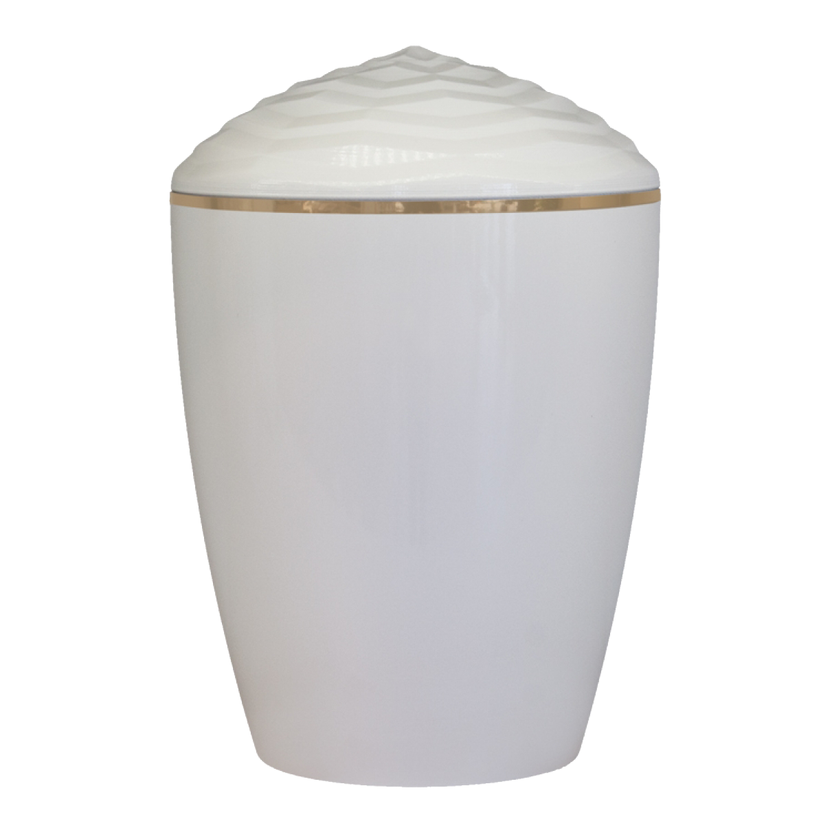 Forest Gold Band Bio Cremation Urn – Gloss White