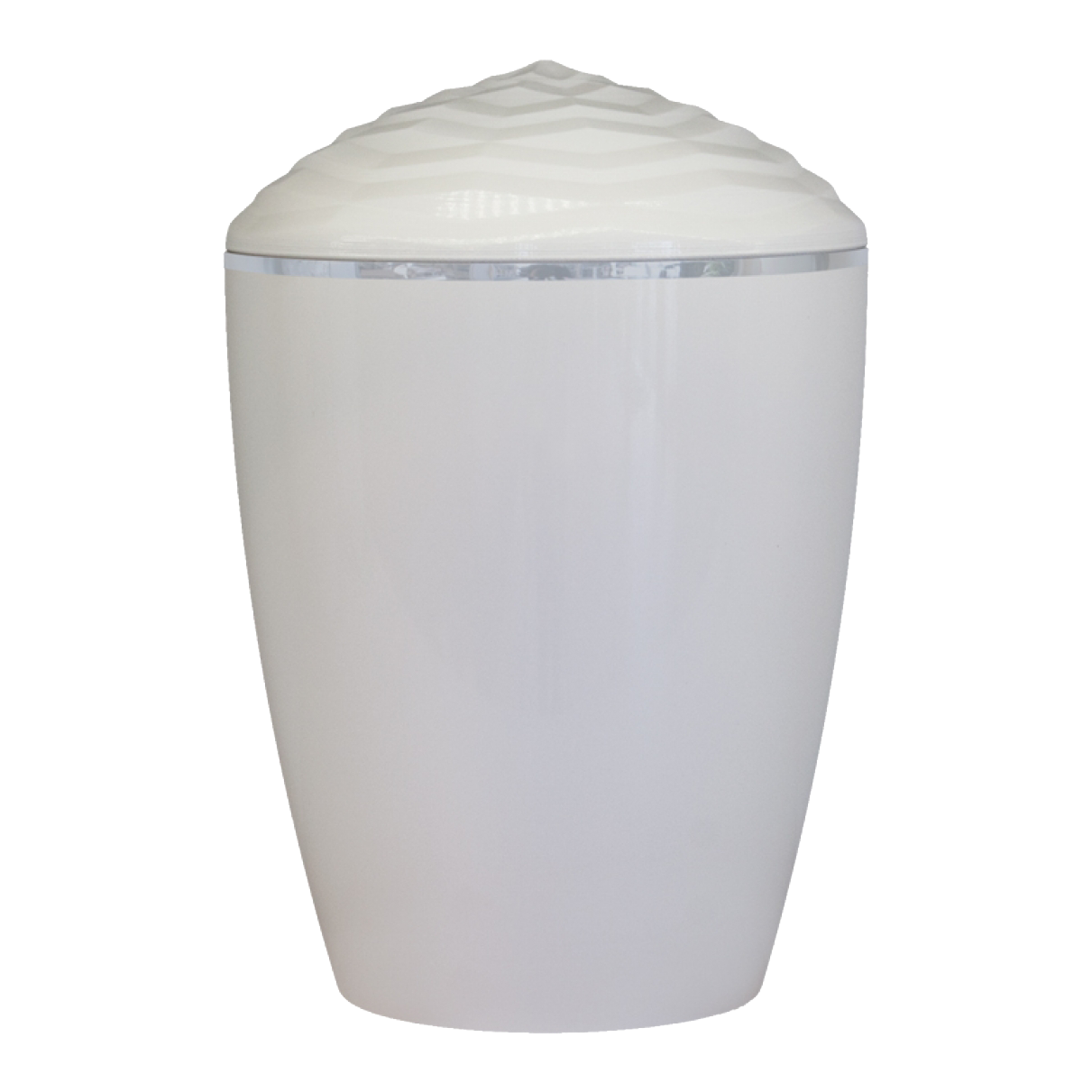 Forest Silver Band Bio Cremation Urn –  Gloss White