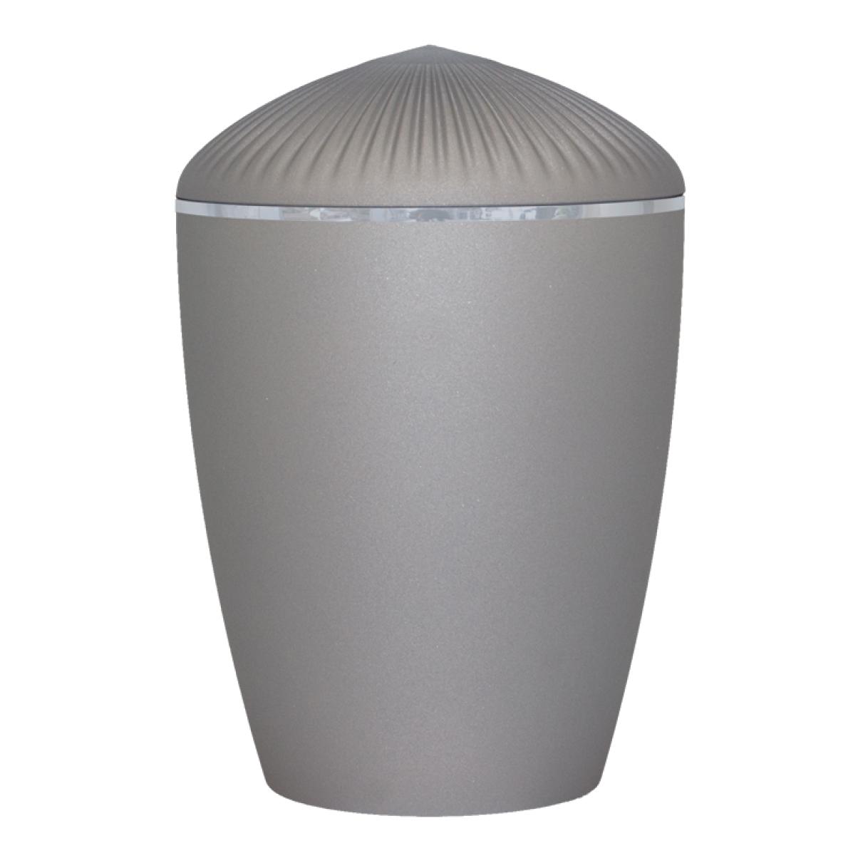 Ferndown Silver Band Cremation Urn – Velvet Grey