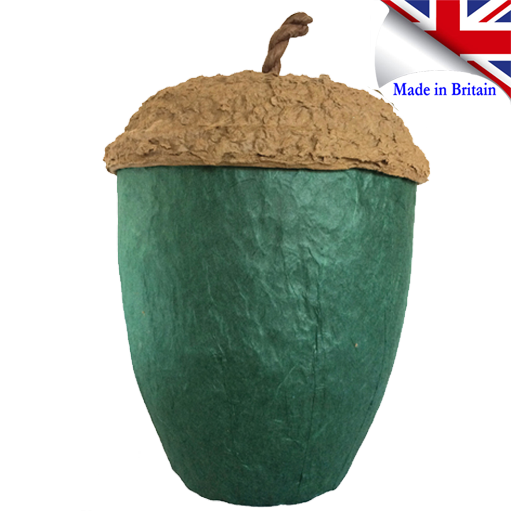 Dark green acorn eco urn